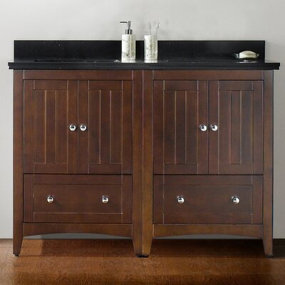 "48"" Double Bathroom Vanity Set Base Finish: Walnut, Top Finish: Black Galaxy, Faucet Mount: 4"" Center"