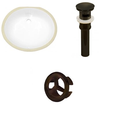 Ceramic Oval Undermount Bathroom Sink with Overflow Drain Finish: Oil Rubbed Bronze