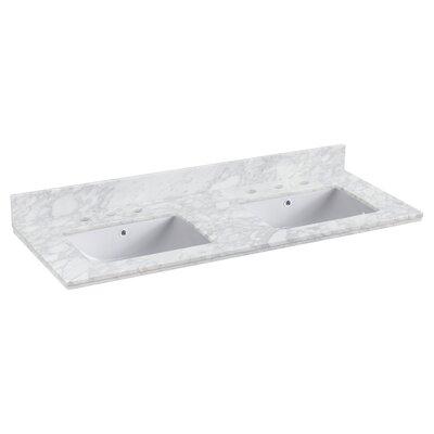 "Shaker Quartz 48"" Single Bathroom Vanity Top Faucet Mount: 8"" Centers, Top Finish: Bianca Carara"