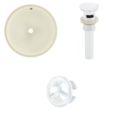 Ceramic Circular Undermount Bathroom Sink with Overflow Drain Finish: White
