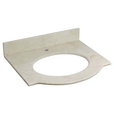 "Tiffany Marble 26"" Single Bathroom Vanity Top Faucet Mount: Single Hole, Top Finish: Beige"