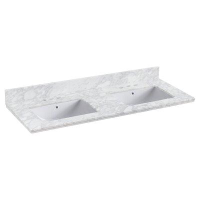 "Shaker Quartz 48"" Single Bathroom Vanity Top Faucet Mount: 4"" Centers, Top Finish: Bianca Carara"
