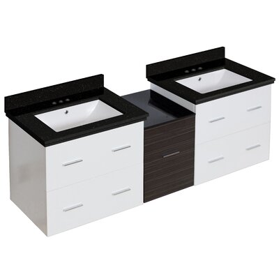 "Phoebe Drilling Wall Mount 62"" Double Bathroom Vanity Set Sink Finish: White, Base Finish: Dawn Gray/White"