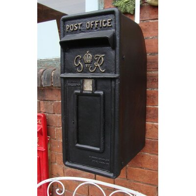 Blackbrook Royal Mail GR Black Postbox Letter Box Replica with Lock
