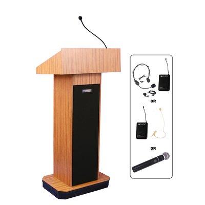 Executive Column Lectern Wireless Mic Type: Headset, Finish: Medium Oak