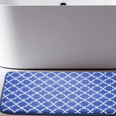 Osmond Flannel Memory Foam Bath Rug Color: Navy