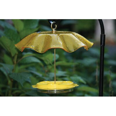 Acrylic Protective Weather Guard Bird Bath with Brass Hardware Color: Yellow