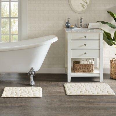 "Emersyn Embossed Memory Foam Bath Rug Size: 16"" L x 24"" W, Color: Ivory"