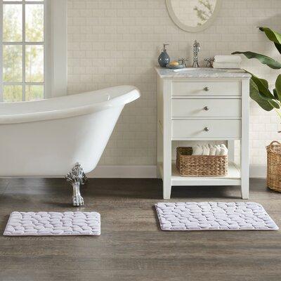 "Emersyn Embossed Memory Foam Bath Rug Size: 16"" L x 24"" W, Color: Gray"