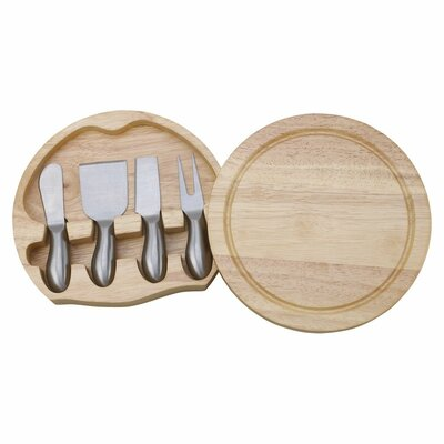 5 Piece Wood Round Swiveling Cheeseboard
