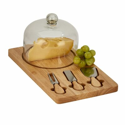 5 Piece Wood Cheese Board with Dome Set