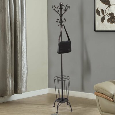 Iron Coat Hanging Rack with Umbrella Stand and Storage