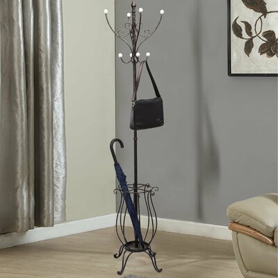 Iron Coat Hanging Rack with Umbrella Stand and Storage Tipped Scroll Design