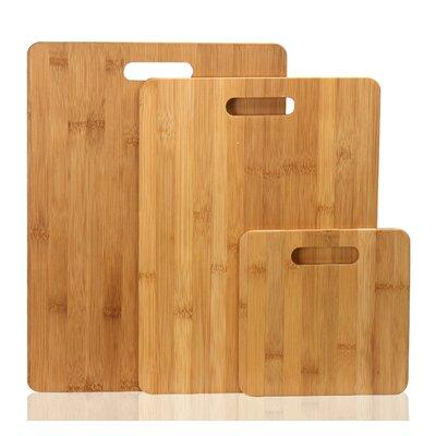 3 Piece 100% Natural Bamboo Chopping Board Set