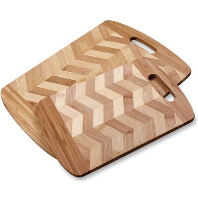 2 Piece 100% Natural Bamboo Chopping Board Set