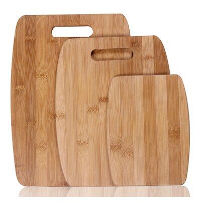 3 Piece Natural Bamboo Chopping Board Set
