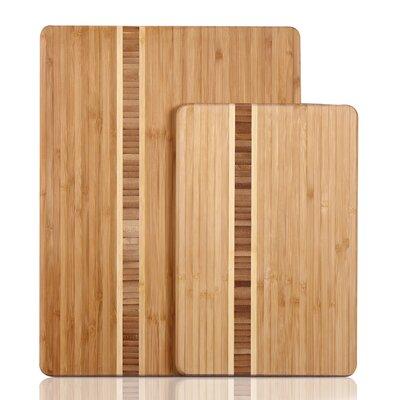 2 Piece Natural Bamboo Chopping Board Set