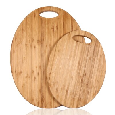 2 Piece 100% Natural Bamboo Oval Chopping Board Set
