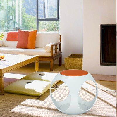 Contemporary Foam Upholstered Stool Color: Orange