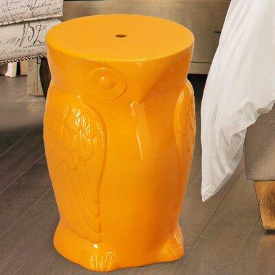 Wise Old Owl Ceremic Garden Stool Finish: Orange
