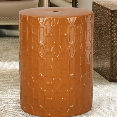 Modern Drum Ceramic Garden Stool Finish: Orange