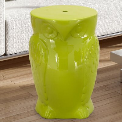 Wise Old Owl Ceremic Garden Stool Finish: Lime