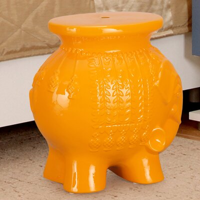 Lucky Elephant Ceramic Garden Stool Finish: Orange