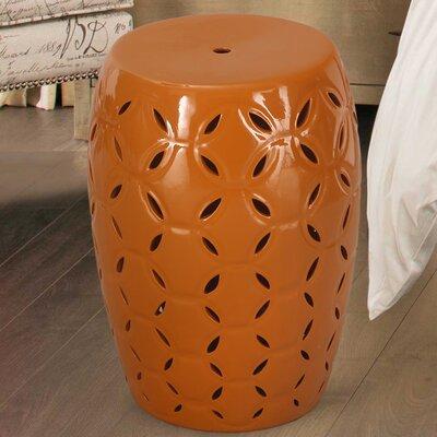 Lattice Ceramic Garden Stool Finish: Orange