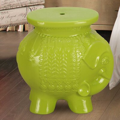 Lucky Elephant Ceramic Garden Stool Finish: Lime