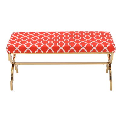 Eladia Metal Bench Upholstery: Red