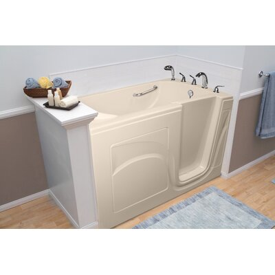 """Navigator 54"""" x 30"""" Whirlpool and Air Jetted Walk-In Bathtub Finish: Biscuit, Drain Location: Right Side"""