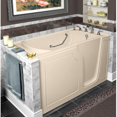 """Dignity 48"""" x 28"""" Whirlpool and Air Jetted Walk-In Bathtub Finish: Biscuit, Drain Location: Right Side"""