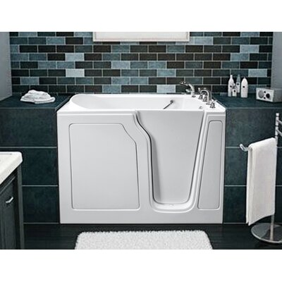 """Dignity 48"""" x 28"""" Air Jetted Walk-In Bathtub Finish: White, Drain Location: Right Side"""
