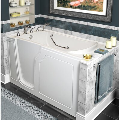 """Dignity 48"""" x 28"""" Whirlpool and Air Jetted Walk-In Bathtub Finish: White, Drain Location: Left Side"""