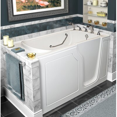"""Dignity 48"""" x 28"""" Whirlpool and Air Jetted Walk-In Bathtub Finish: White, Drain Location: Right Side"""