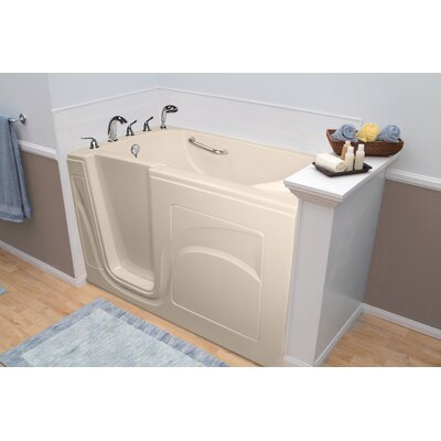 """Navigator 54"""" x 30"""" Whirlpool and Air Jetted Walk-In Bathtub Finish: Biscuit, Drain Location: Left Side"""