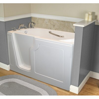 """Dignity 48"""" x 28"""" Whirlpool Jetted Walk-In Bathtub Finish: White, Drain Location: Left Side"""