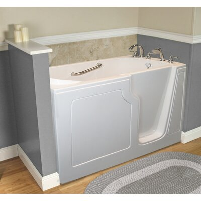 """Dignity 48"""" x 28"""" Whirlpool Jetted Walk-In Bathtub Finish: White, Drain Location: Right Side"""