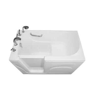 "Navigator 54"" x 30"" Soaking Walk-In Bathtub Finish: White, Drain Location: Left Side"