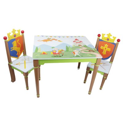 Fantasy Fields by Teamson Knights And Dragons Children's 3 Piece Rectangular Table and Chair Set