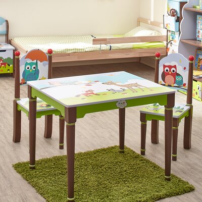 Fantasy Fields by Teamson Enchanted Woodland Children's 3 Piece Rectangle Table and Chair Set