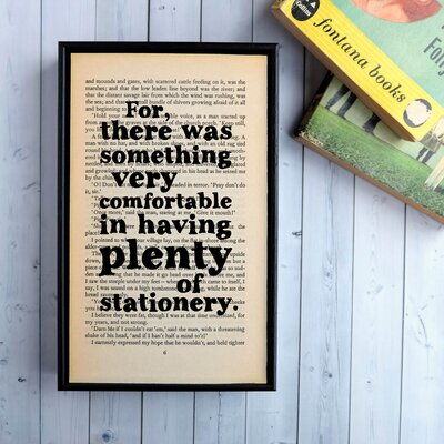 "Bookishly ""For There Was Something Very Comfortable..."" from Great Expectations by Charles Dickens Framed Typography"