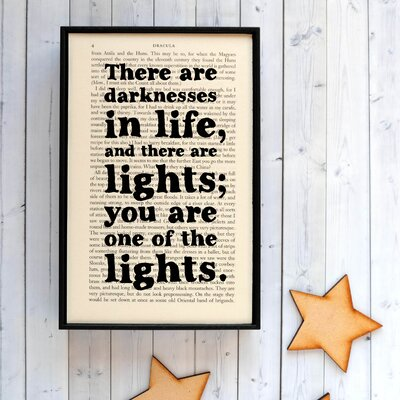 """Bookishly """"There are Darknesses in Life... """" from Dracula by Bram Stoker Framed Typography"""