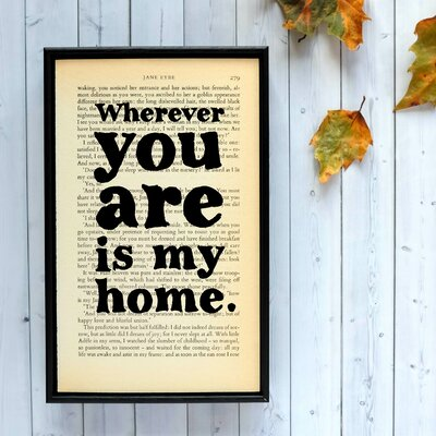 Bookishly Wherever You Are is My Home from Jane Eyre by Charlotte Brontë Framed Typography