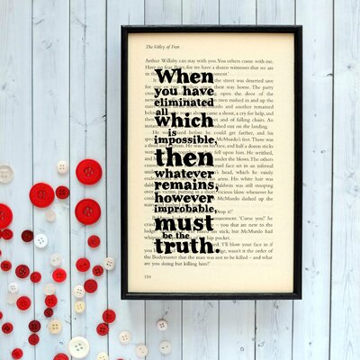 "Bookishly ""The Truth"" from Sherlock Holmes by Arthur Conan Doyle Framed Typography"