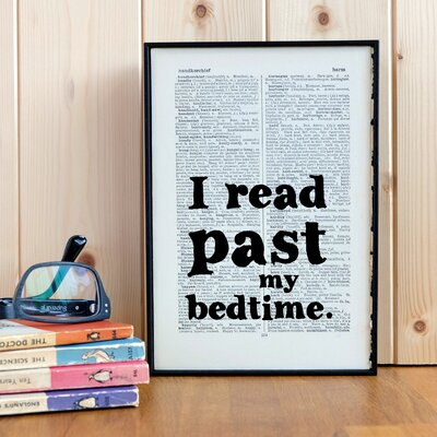 """Bookishly """"I Read Past my Bedtime"""" Framed Typography"""