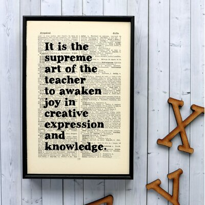 "Bookishly ""It is the Supreme Art of the Teacher..."" by Albert Einstein Framed Typography"