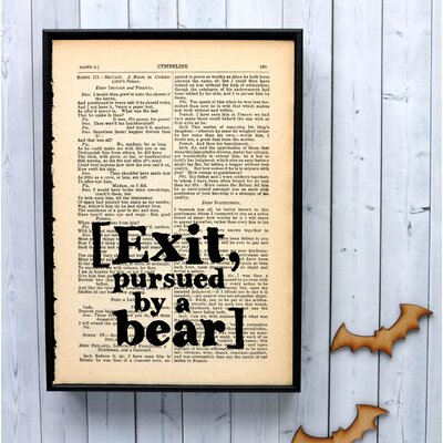 """Bookishly """"[Exit, pursued by a bear]"""" from The Winter's Tale by William Shakespeare Framed Typography"""