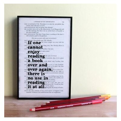 "Bookishly ""Reading a Book..."" by Oscar Wilde Framed Typography"