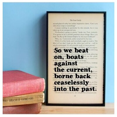 """Bookishly """"So We Beat On..."""" from The Great Gatsby by F. Scott Fitzgerald Framed Typography"""